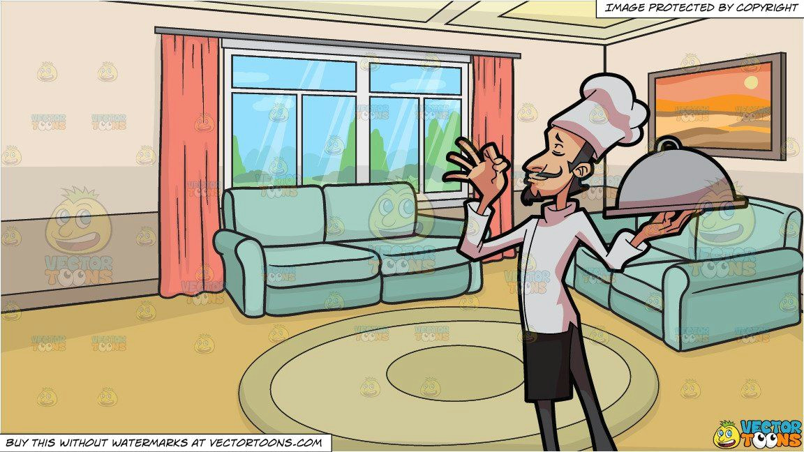 clipart cartoon a chef holding a tray and a small living room background