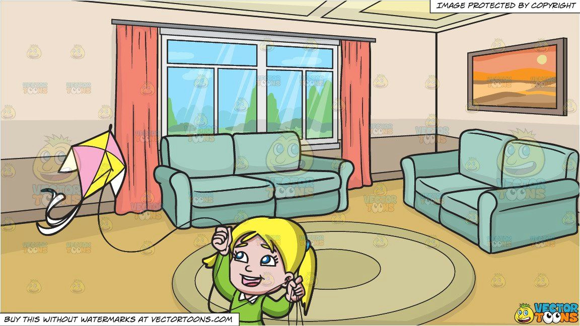 clipart cartoon a delighted girl flying her pretty kite and a small living room