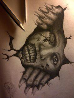 creepy drawings scary wall by eddydreams on deviantart zombie drawings halloween drawings creepy