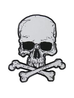 reflective skull and crossbones patch 3 x 4