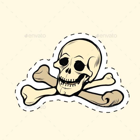 skull and bones jolly roger label sticker