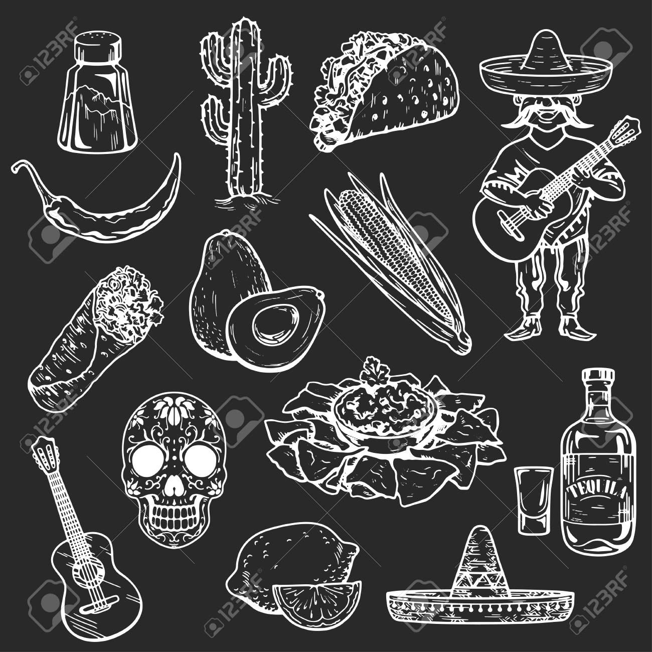 icons of mexican food and culture hand drawn images stock vector 62895160