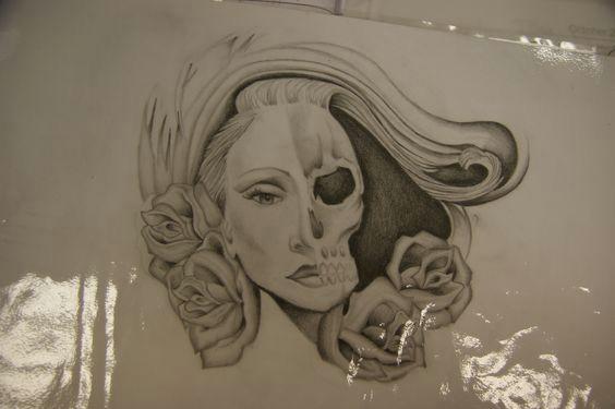 woman skull face