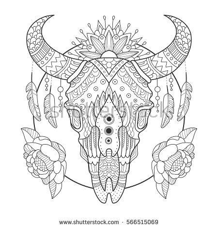Drawing Skulls Book Cow Skull Coloring Book Vector Illustration Anti Stress Coloring