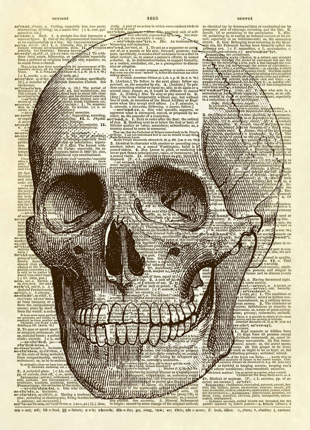 human skull dictionary art print