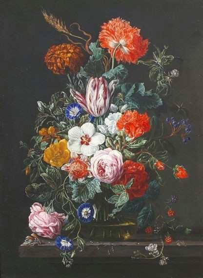 artwork by frederick victor bailey still life of flowers in a vase raspberries and blackcurrants nearby made of oil on panel