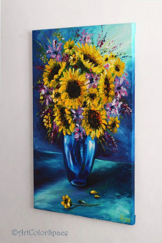 sunflowers painting yellow flowers art still life flowers etsy