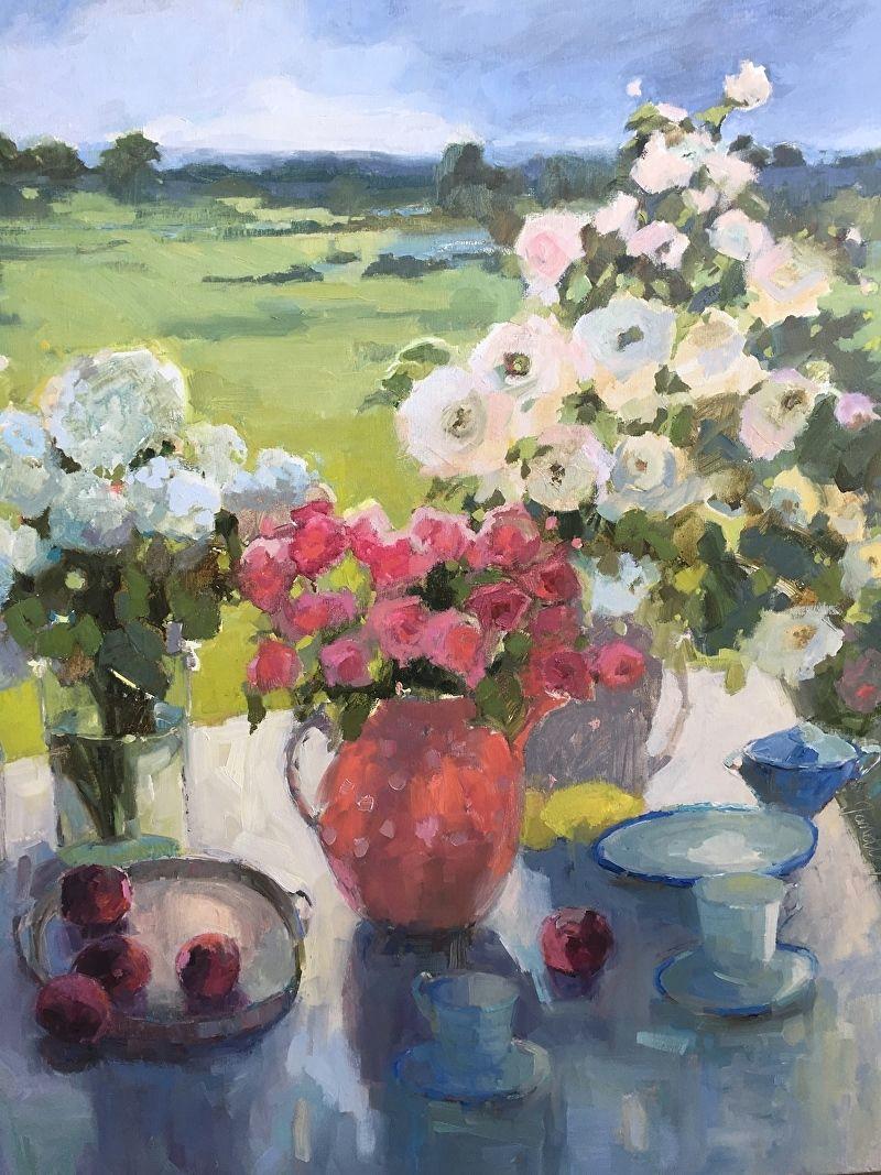 la vie en rose by janette jones oil 30 x 36 flower art art
