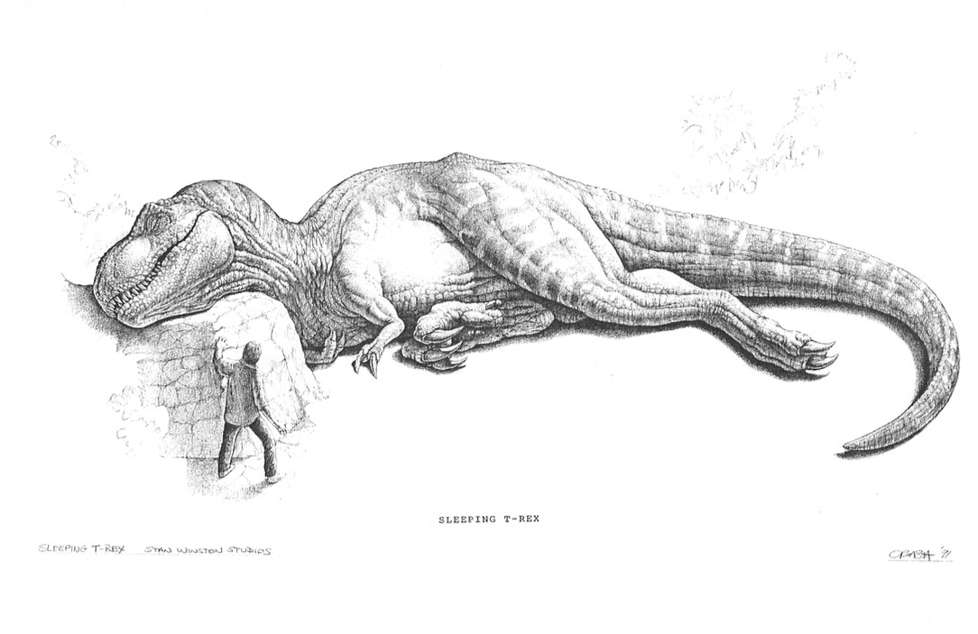 concept art for the cut sleeping rex scene