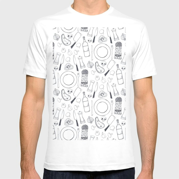 black hand drawn ratatouille sketched pattern t shirt