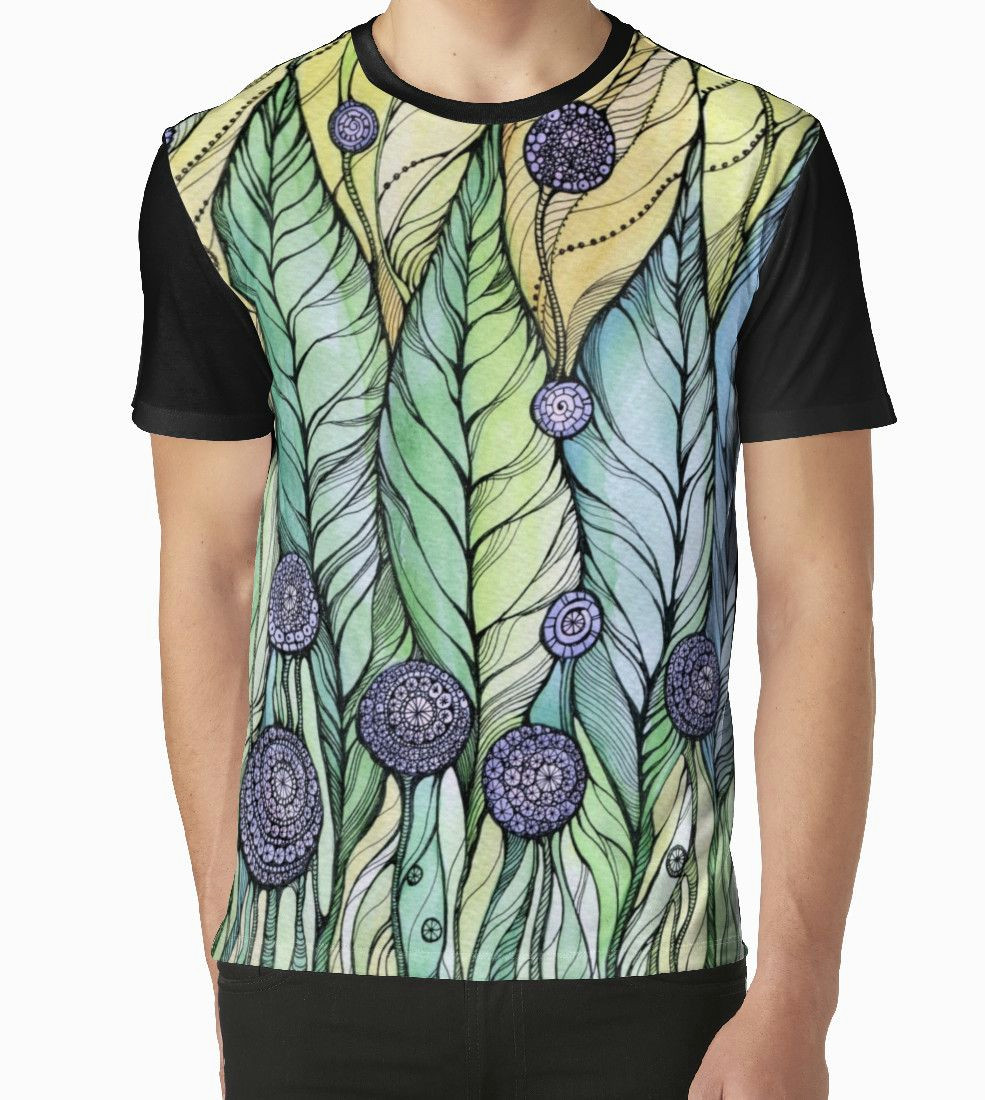 graphic t shirt dress dandelions hand draw ink and pen watercolor on textured paper by sviatlana kandybovich