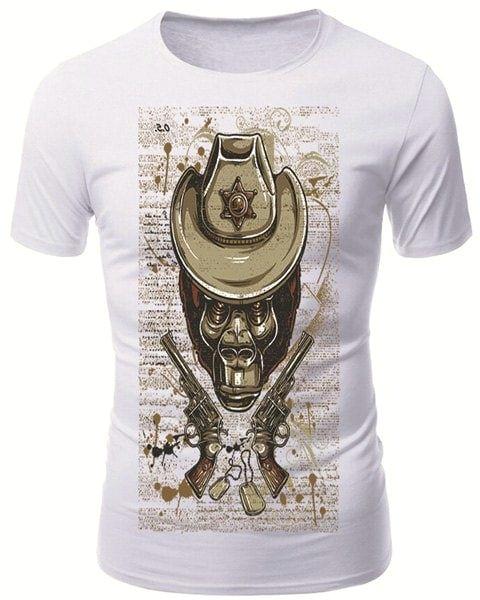 modish round neck 3d skull guns pattern short sleeve men s t shirt white m