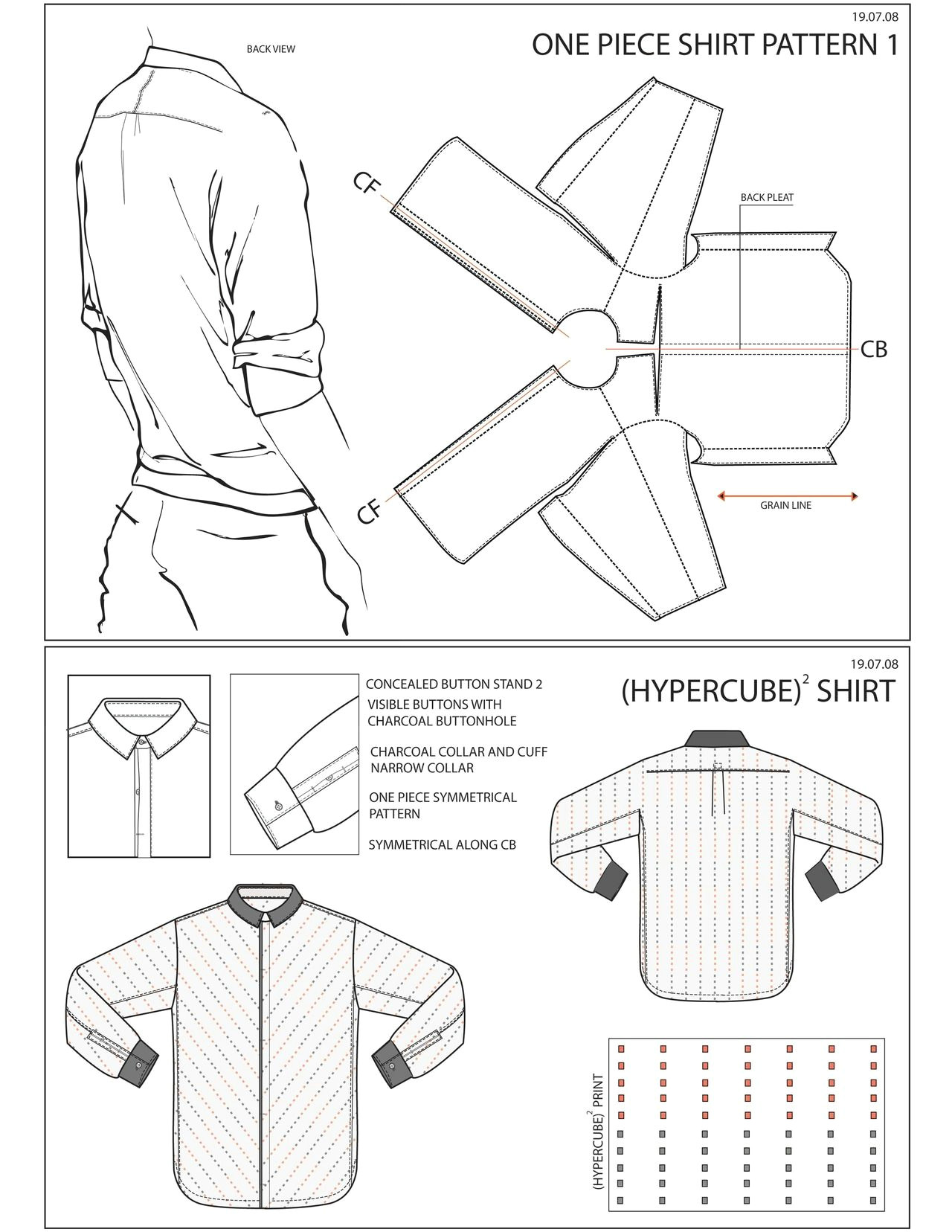 one piece shirt experimental pattern cutting pattern done by me although i don t take pattern cutting work the shirt fits just as well as any old shirt