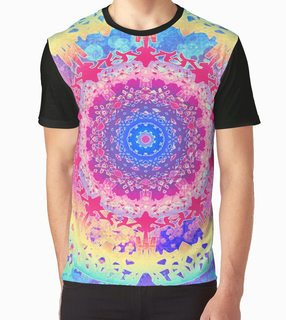 boho hand drawn lyered mandalas with watercolor painting and morroccan pattern textures in rainbow brights also buy this artwork on apparel stickers