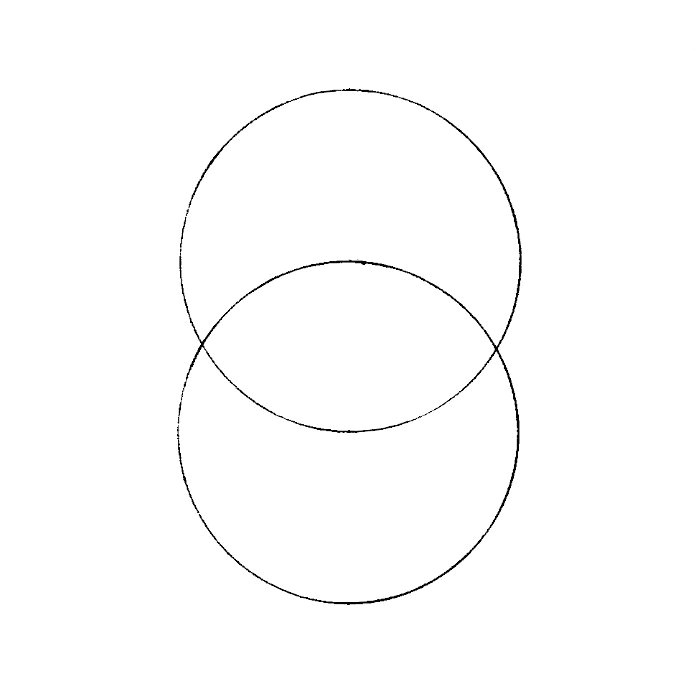 begin by drawing a circle use a compass now take the metal tip of the compass and place it anywhere along the circle you just made draw another circle