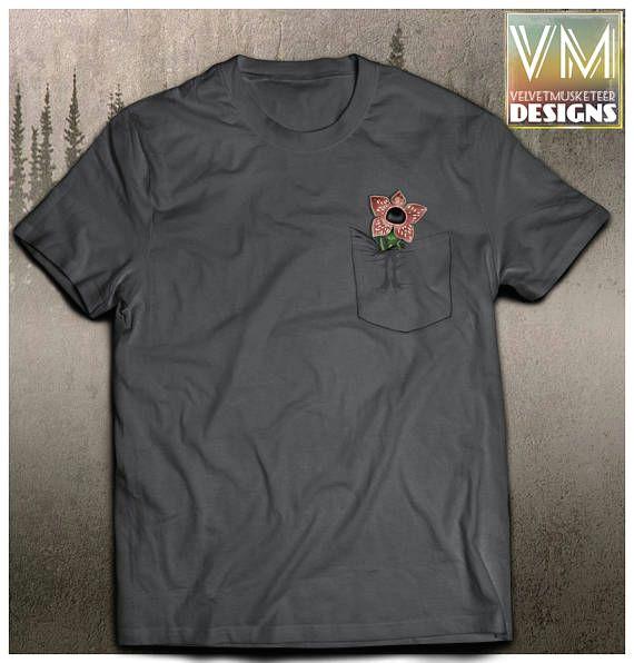 stranger things inspired shirt pocket demogorgon hawkins