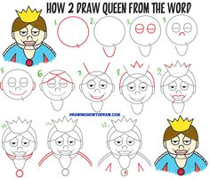 how to draw a cartoon queen from the word queen easy step by step drawing tutorial for kids