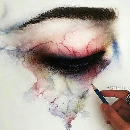 viens tired artistic art led eye