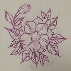 neo traditional flower drawing line