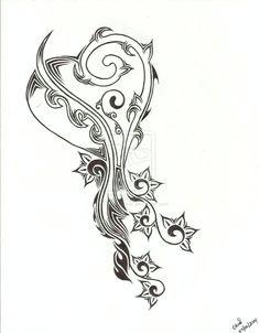 tribal heart and flower tattoo design by chrismetalfreak on deviantart