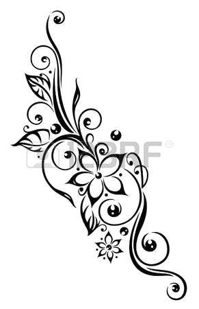 black flowers illustration tribal tattoo style photo