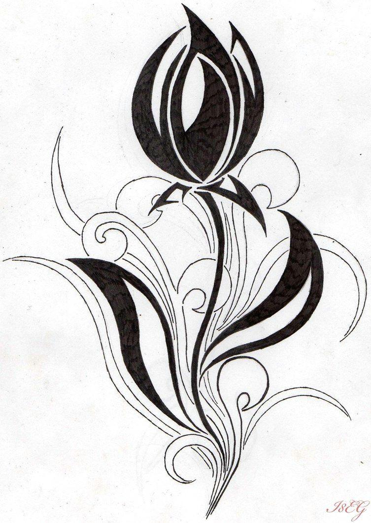 Drawing Tribal Flowers Flower Tribal Tulip by Aglinskas Srdce Tulip Tattoo Tattoos