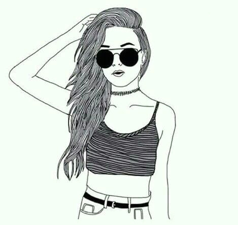 Drawing Tumblr Profile Pictures Girl Croptop Choker Sunglasses Drawing Art Draw Pinterest