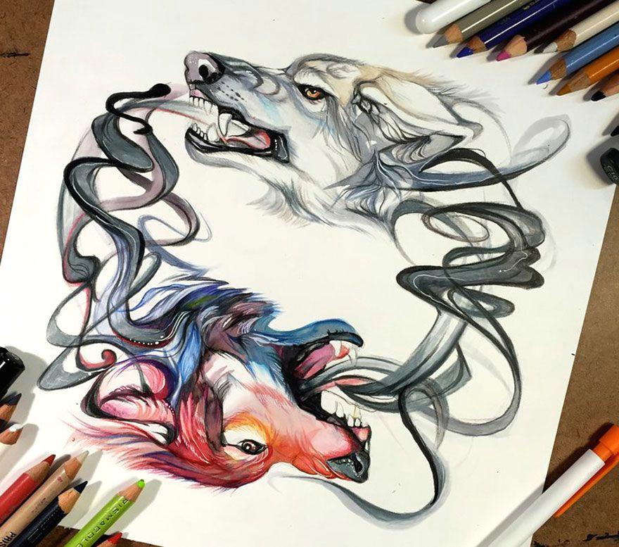 wolf watercolor tattoo tumblr