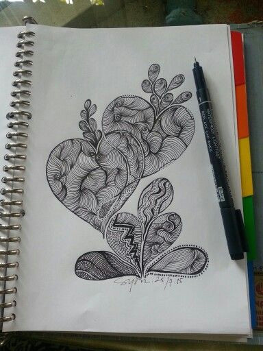 two heart zentangles doddles