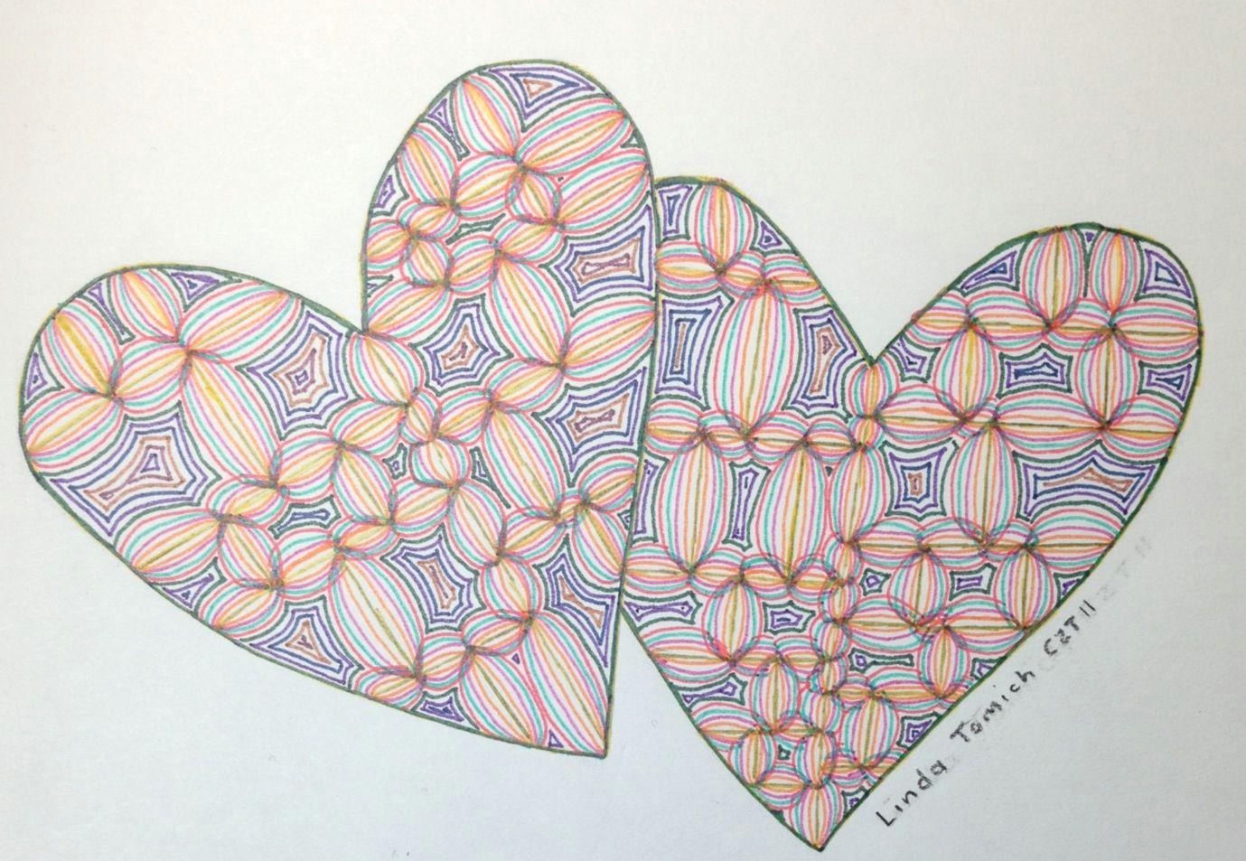 zentangle two hearts