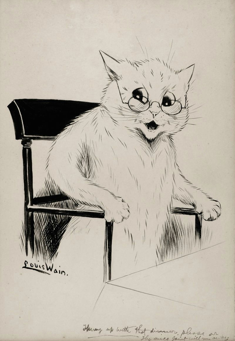 hurry up with that dinner please or the mice joint will run away by louis wain