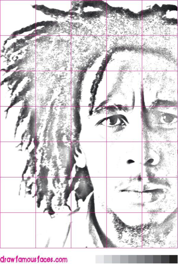 how to draw a bob marley portrait using a grid