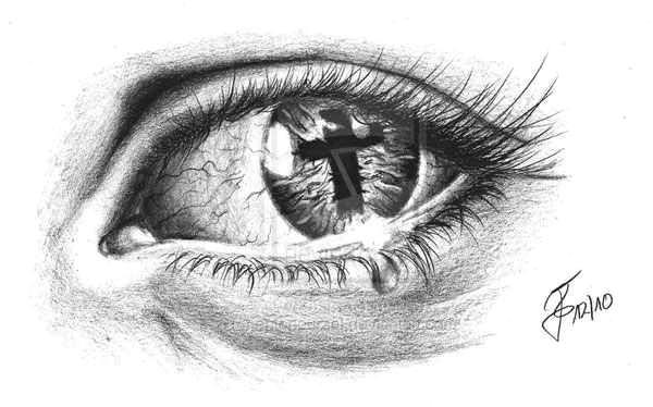 eye tattoo with cross reflection