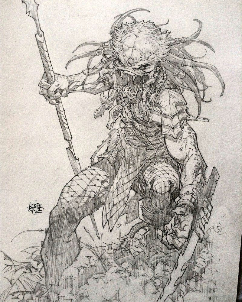 predator commission 2 by rogercruz alien vs predador predator art arte digital sci