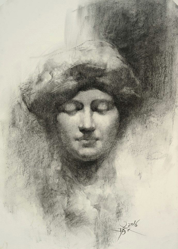 a statue drawing with charcoal a by chien chung wei