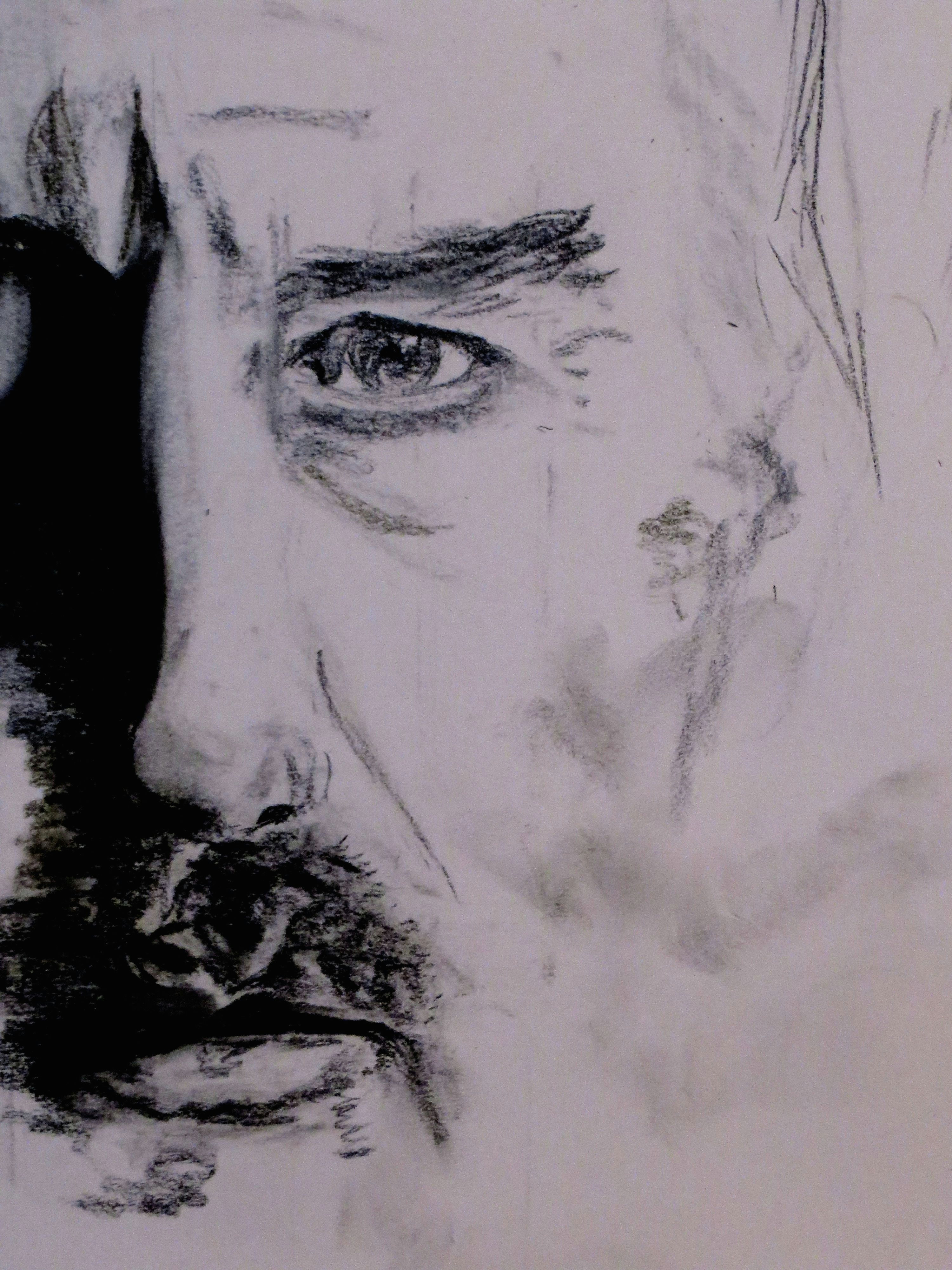 unfinished charcoal drawing of ciaran hinds which alas i subsequently spoiled drawing by zuzanne