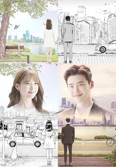 lee jong suk and han hyo joo are illustrated and three dimensional characters meeting in w two worlds