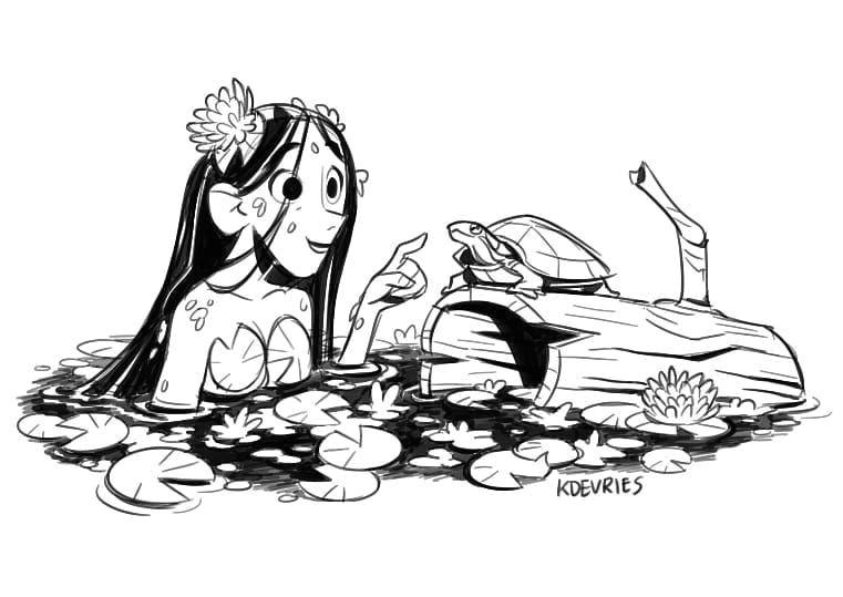lunch drawing a swamp girl artistsoninstagram art instaart digitalart sketchbookpro blackandwhite warmup illustration girl swamp mermaid turtle