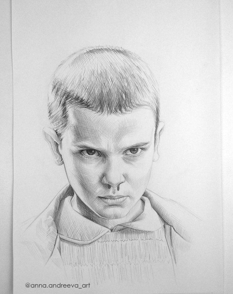 stranger things pencil drawing fan art of eleven by anna andreeva