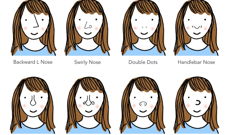 8 ways to draw cartoon noses