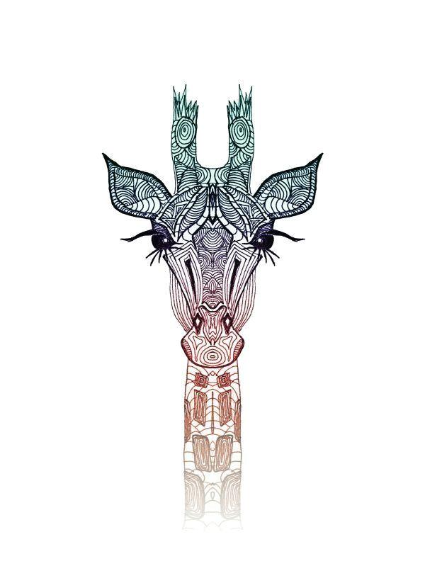 giraffe illustration pattern wild animal popular white teal orange eyes africa bigfive cute drawing animals