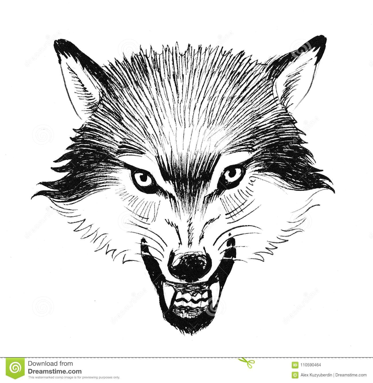 ink black and white illustration of an angry wolf