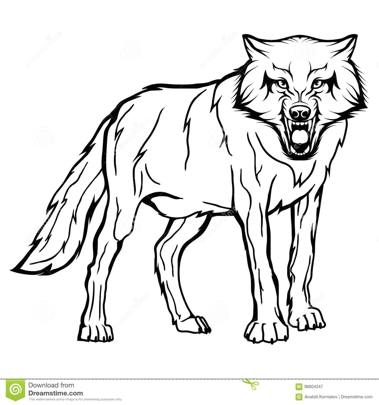 vector sketch of a wolf