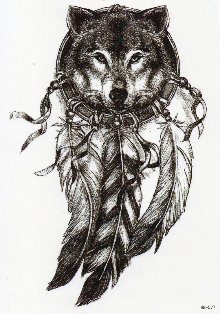 dreamcatcher traumfanger wolf temporary tattoo