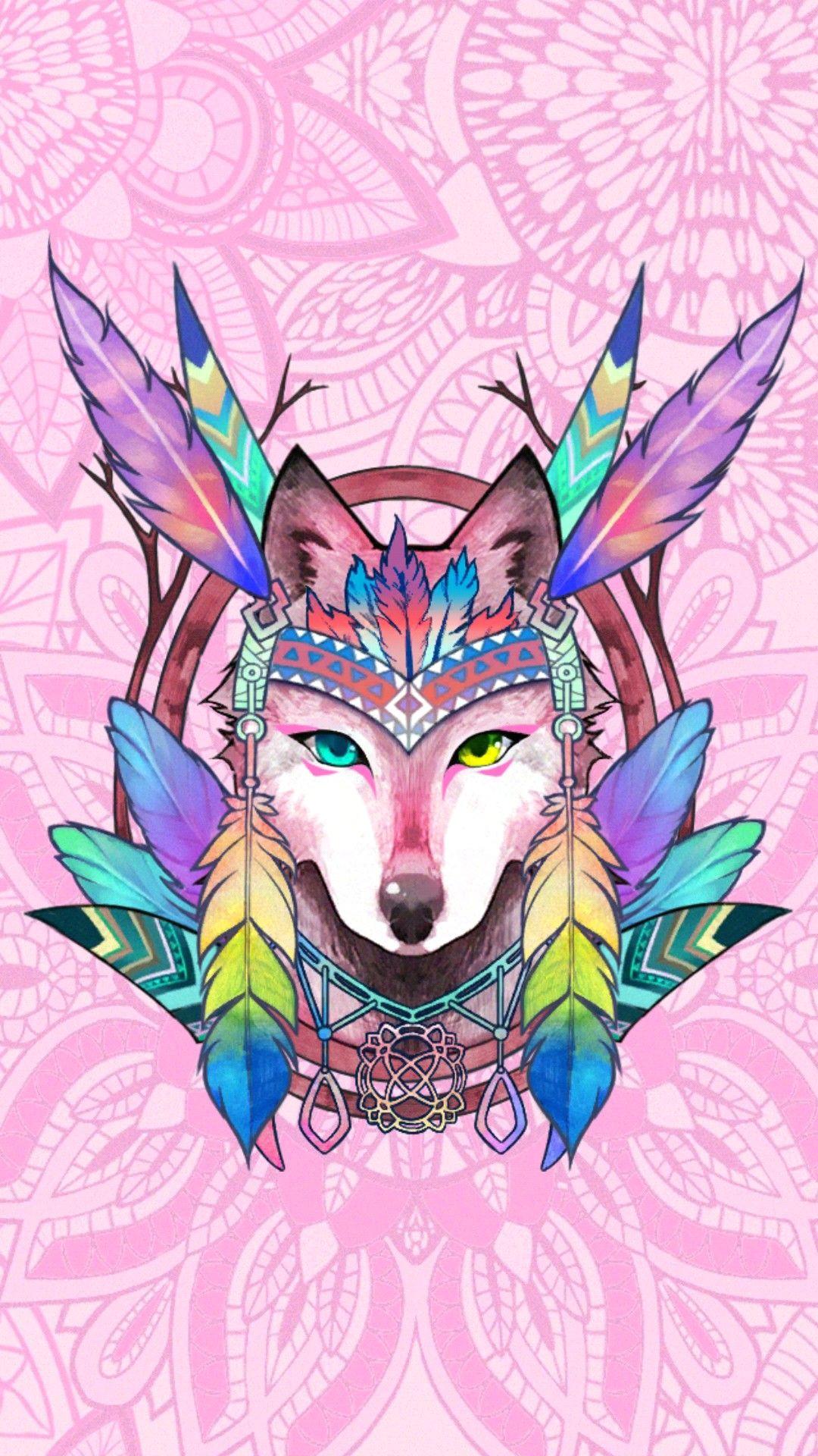 wolf colorful animals amazing art chibi eyes wallpaper drawings