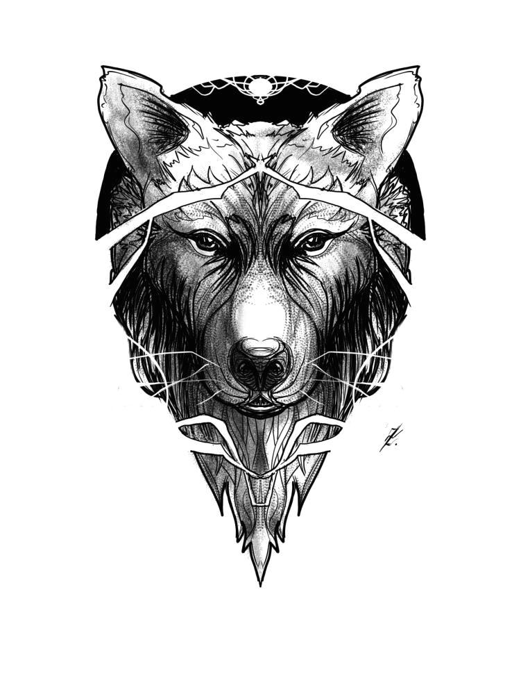 wolf line dotwork practice by deadmanone