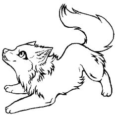 free line art cute wolf drawingsanimal