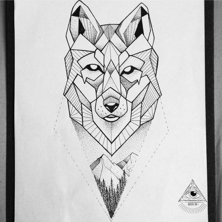 znalezione obrazy dla zapytania geometric wolf geometrischer wolf tattoo tattoo on white wolf tattoo