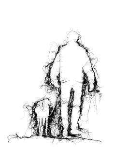 adrienne wood thread drawing man walking dog in black thread on white ground space