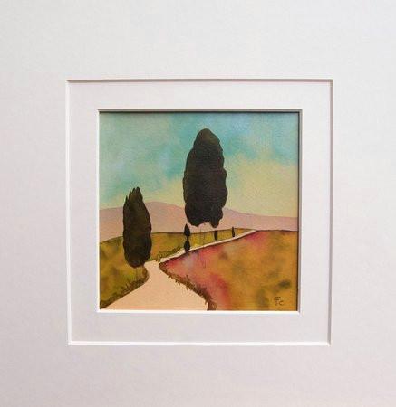art studio di adelina quadri landescape original watercolor 35 x 35 cm with mat